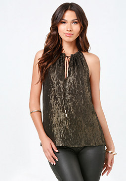 bebe Ella Silk & Metallic Top