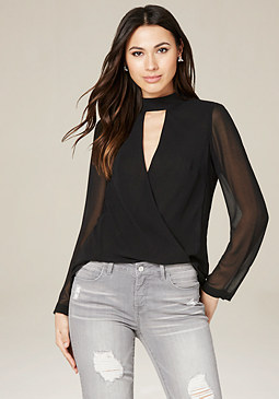 bebe Mock Neck Hi-Lo Top