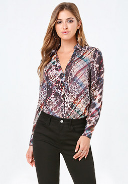 bebe Print Side Slit Tunic