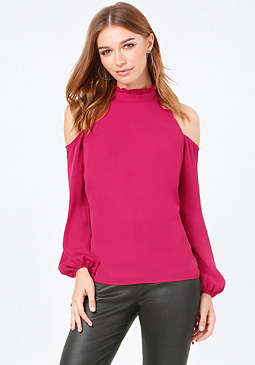 bebe Ruffle Cold Shoulder Top