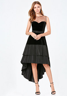 Dramatic Velvet Hi-Lo Dress