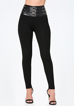 bebe Belted High Waist Leggings