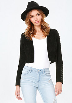 Suede Lace Up Crop Jacket