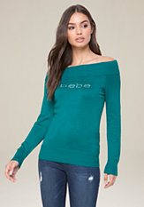 bebe Logo Boatneck Sweater