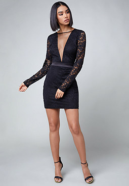 bebe Shawna Lace & Mesh V Dress