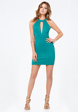 bebe Scuba Plunge Keyhole Dress