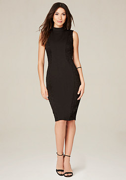 bebe Curve Lace Panel Midi Dress