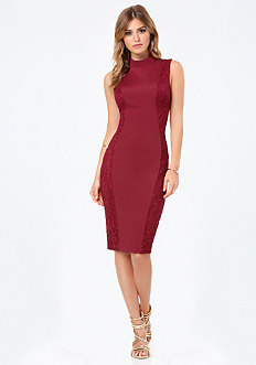 Curve Lace Panel Midi Dress