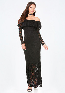 bebe Lace Ruffle Maxi Dress