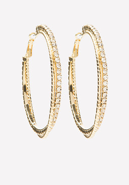 bebe Glitzy Twist Hoop Earrings