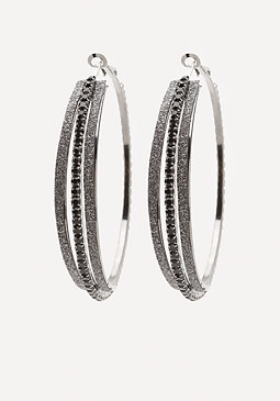 bebe Dark Sparkle Hoop Earrings