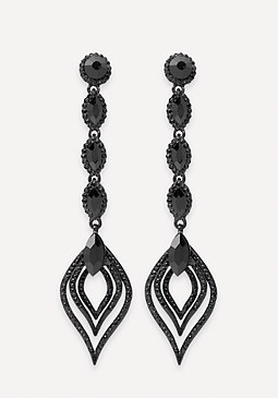 bebe Black Crystal Drop Earrings