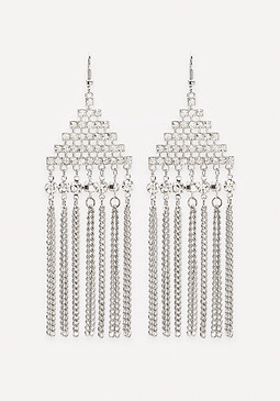 bebe Fringe Geo Drop Earrings