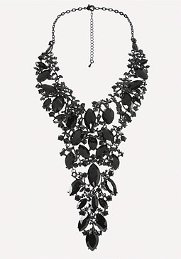 bebe Black Crystal Bib Necklace