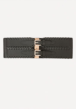 bebe Whipstitch 2-Buckle Belt
