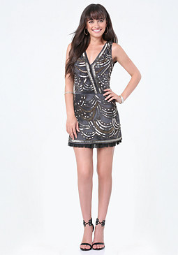 bebe Beaded Ruffle Hem Dress