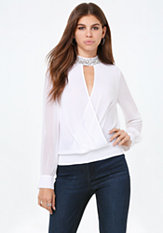 bebe Embellished Neck Top