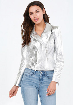 bebe Silver Leather Moto Jacket