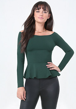 bebe Bare Shoulder Peplum Top