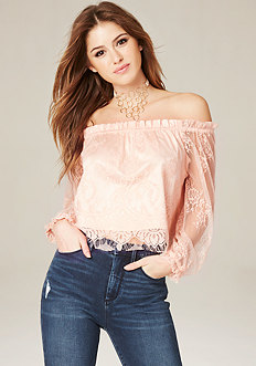Lace Off Shoulder Crop Top