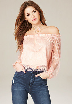 bebe Lace Off Shoulder Crop Top