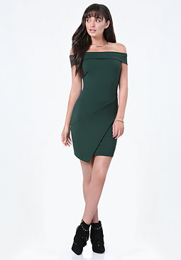 bebe Off Shoulder Wrap Dress