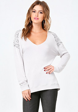 bebe Embellished Raglan Top