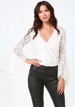 bebe Lace Bell Sleeve Top