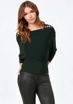 bebe Dolman Sleeve Lace Up Top