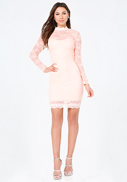 bebe Lace Mock Neck Dress