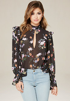 Print Romantic Ruffle Top