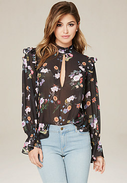 bebe Print Romantic Ruffle Top