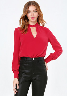 bebe Silk Twist Mock Neck Top
