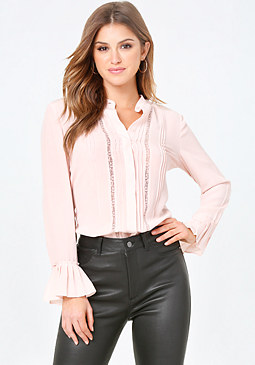 bebe Silk Hidden Placket Top