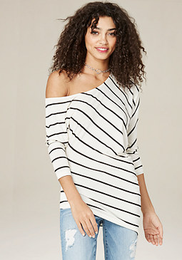 bebe Striped Asymmetric Top