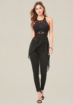 bebe Embroidered Tulle Hi-Lo Top