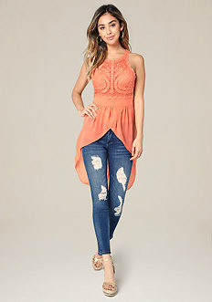 Embroidered Tulle Hi-Lo Top