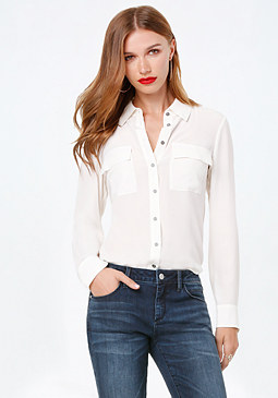 bebe Silk Button Down Shirt