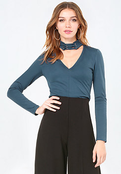 bebe Lace Up Neck Top
