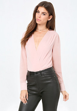 bebe Silk Deep V-Neck Bodysuit