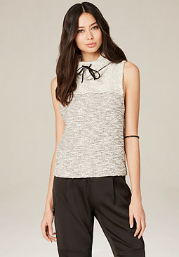 bebe Cowl Neck Sleeveless Top