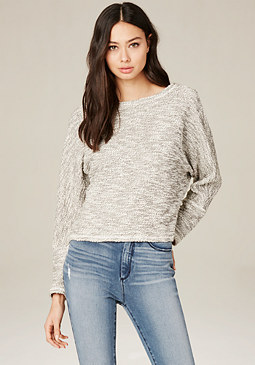 bebe Marbled Knit Sweatshirt