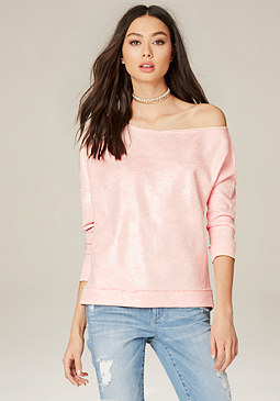 bebe Foil Treatment Sweatshirt