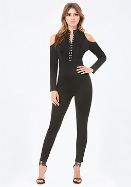 bebe Petite Hook & Eye Catsuit
