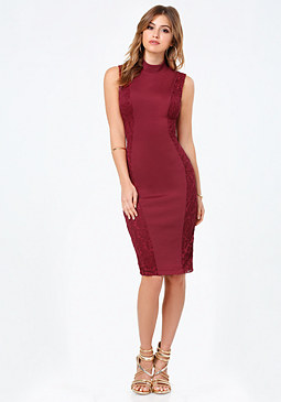 bebe Petite Lace Trim Midi Dress