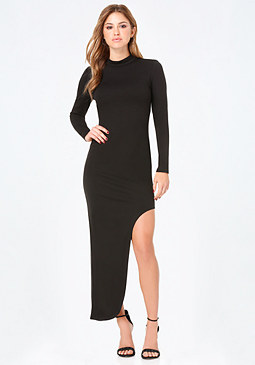 bebe Asymmetric Mock Neck Dress