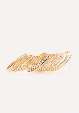 bebe Glitzy Crystal Bangle Set