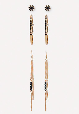 bebe Black Stone Earring Set