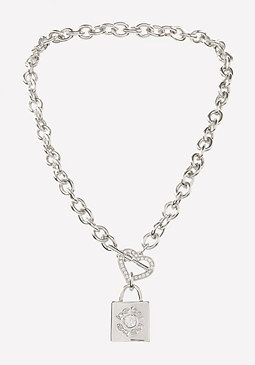 bebe Logo Heart & Lock Necklace