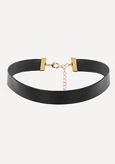 Black Faux Leather Choker